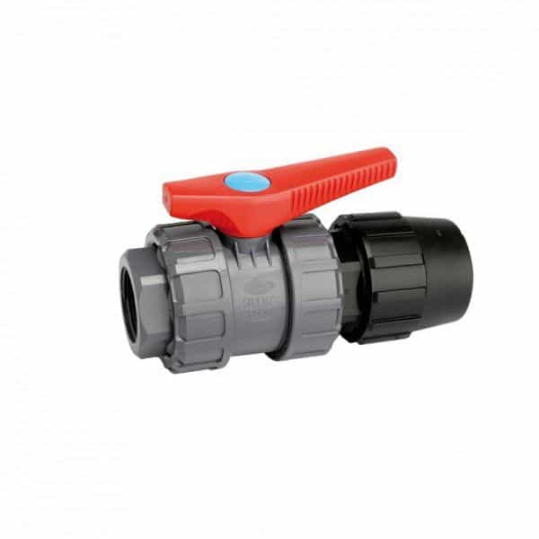 Válvula de PVC con enlace mixto PE-RH-0